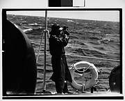 [South Seas: Man with Sextant on Deck of Cressida]