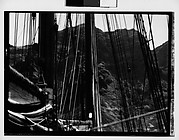 [South Seas: Mast and Rigging of Cressida in Front of Mountain Range]