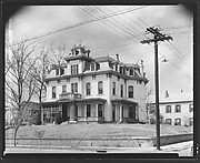 [Second Empire House on Corner with Telephone Pole and Lines, Natchez, Mississippi]