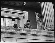 [Jane Ninas and Christine Fairchild on the Balcony of Belle Grove Plantation, White Castle, Louisiana]