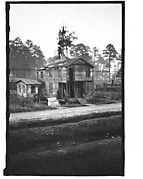[Wooden Building by Railroad Tracks, From Train, Savannah, Georgia]