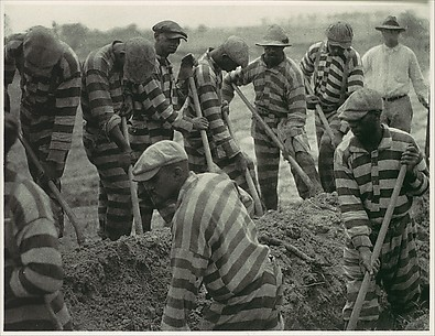[Prison Work Crew (ca. 9 Members) Digging Trench and 1 Guard]