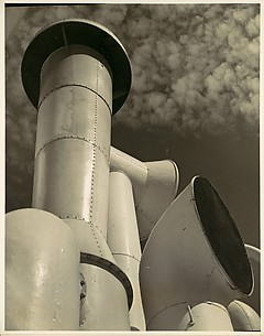[White Smoke Stacks Against Sky, New York City]