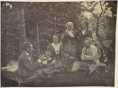 [Three Women,Two Men, and a Child on a Picnic]