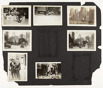 [Fans on Sidewalk, Man Sleeping on Stoop, Midtown Buildings, Lower Manhattan? Buildings Behind Lot, Chinatown Poultry Display, Asian Men on Street, New York]
