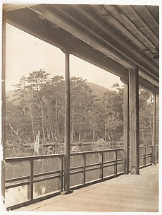 [View from a Port of a Pond and Hillside]