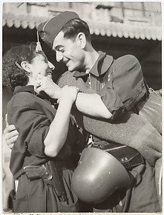 [Soldier Embracing Woman, Barcelona, Spain]