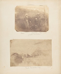 [Portrait of a Bearer, Little Marlin, and Captain Hill, Garden, Umballa]