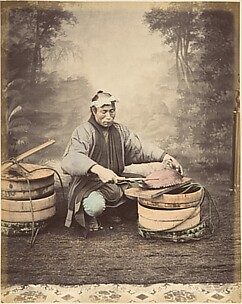 [Japanese Man Preparing a Fish]