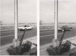 [Diptych of Two Cars on a Highway with Shadow of Light Standard]