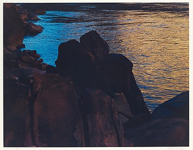 Dark Rocks at Edge of River, Mile 16, Above House Rock Rapids, Grand Canyon, Arizona