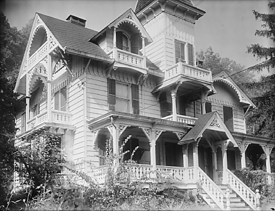 [Folk Victorian House with Jigsaw Ornament Gables and Porch, Nyack, New York]