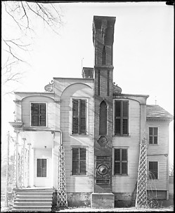 [Left Wing Façade of Queen Anne (?) House with Patterned Masonry Chimney, New York]