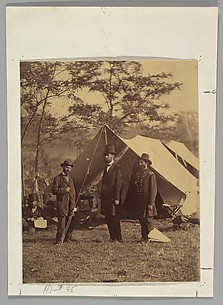 [President Abraham Lincoln, Major General John A. McClernand (right), and E. J. Allen (Allan Pinkerton, left), Chief of the Secret Service of the United States, at Secret Service Department, Headquarters Army of the Potomac, near  Antietam, Maryland]