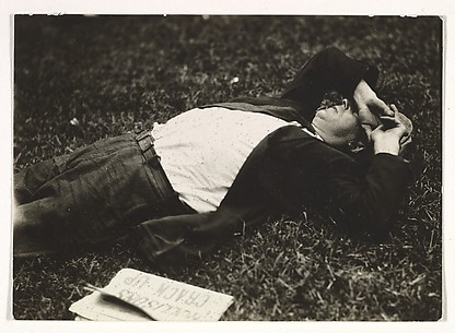 [Man Sleeping on Grass, New York]