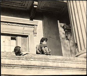 [Jane Ninas and Christine Fairchild on Balcony, Belle Grove Plantation House, White Castle, Louisiana]