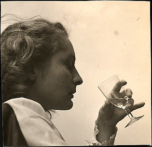 [Eleanor Clark Drinking, on Roof of 441 East 92nd Street Apartment Building, New York City]