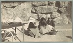 [Three Women Seated in Front of Stone Wall, Tarragona, Spain]