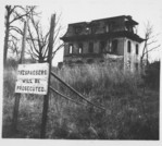 [Two Copy Photographs of Abandoned Second Empire House and No Trespassing Sign]