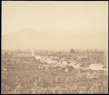 [Town on Plain with Mountain in Background]