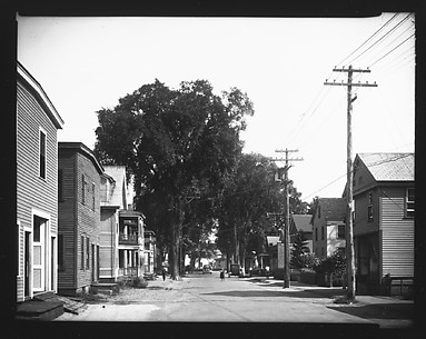 [View Down Street with Frame Houses, Near Boston, Massachusetts]