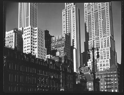[Row of Town Houses on Park Avenue in Front of Midtown Skyscrapers, New York City]