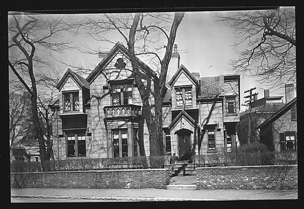 [Gothic Revival House with Trefoil Window in Center Gable, Cambridge, Massachusetts]