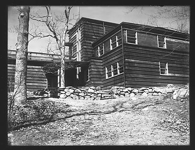 [Rear View of Modernist House with Brick Patio, Residence of Lyman Paine and Ruth Forbes, Naushon Island, Massachusetts]