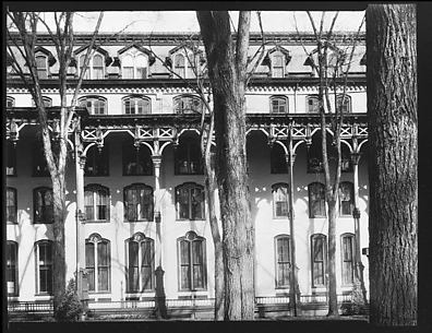 [Grand Union Hotel Façade with Elm Trees in Foreground, Saratoga Springs, New York]