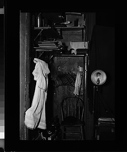 [Walker Evans's Darkroom at 92 Fifth Avenue with Chair, Telephone, and Lamp, New York City]