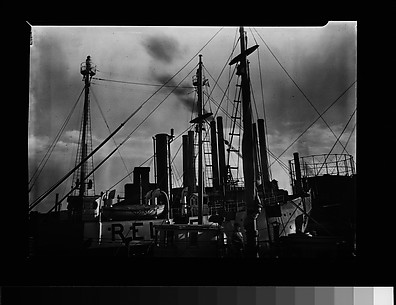 [Port Scene of Ships' Masts, Rigging, and Factory Smokestacks, New York City]