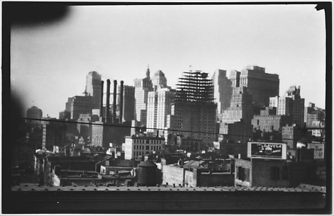 [Manhattan Skyline with Brooklyn Bridge Trussing, New York City]