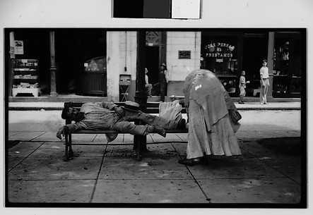 [Man Sleeping on Bench in Public Square, Havana]
