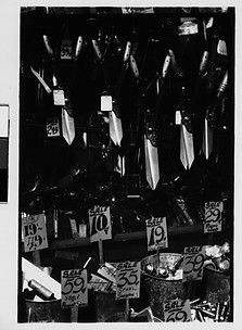 [Hardware Store Display of Hanging Shears and Toilet Seats, Brooklyn, New York]