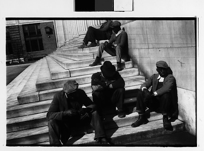 [Men Seated on Steps of Public Building, Southeastern U.S.]