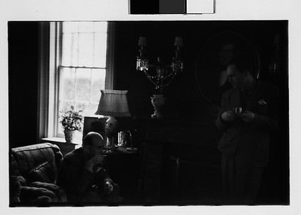 [Gifford Cochran and Unidentified Man in Library, Croton Falls, New York]
