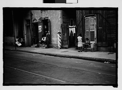[People on Burgundy Street in French Quarter, New Orleans, Louisiana]