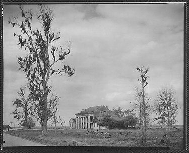 [Dilapidated Greek Revival (Plantation?) House, From Road]