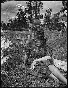 [Double Exposure: Jane Fuller Canfield on Lawn]