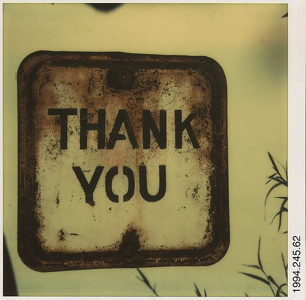 "[Metal Sign: ""THANK YOU""]"