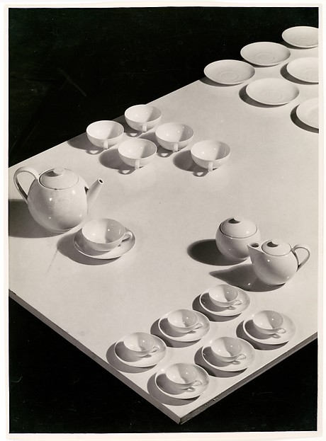 [Ladislav Sutnar China: Tea Service Arranged on Table, Viewed from Above]