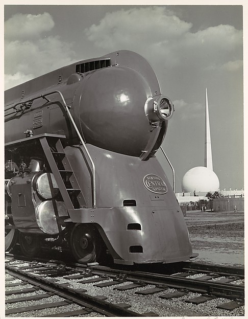 [Locomotive, with Entrance to Perisphere of 1939 New York World's Fair in Background]
