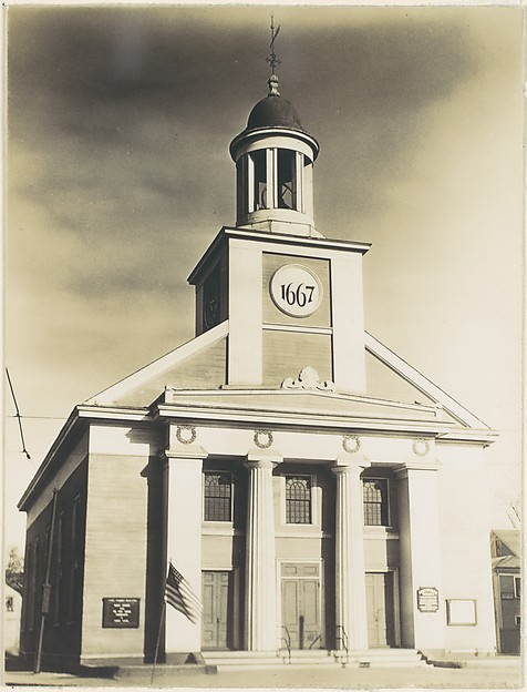 """[Victorian Architecture: Federal Style Church with Doric Columns and Placard Reading """"1667""""]"""