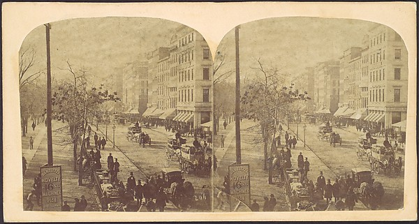 [Broadway with horse-drawn carriages]