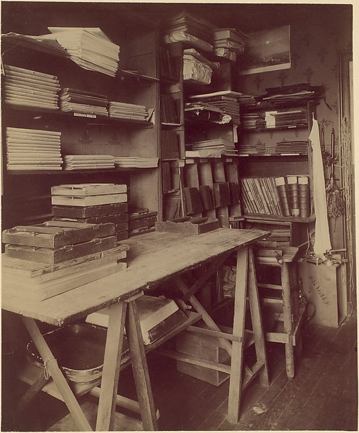 [Atget's Work Room with Contact Printing Frames]