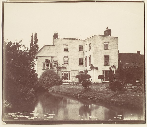 [View of House from Garden by Pond with Lily Pads]