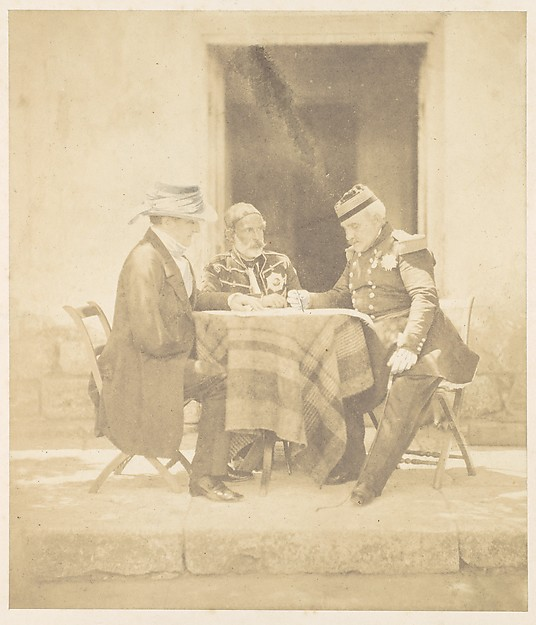 The Council of War on the Morning of the Taking of the Mamelon.  Lord Raglan, Omar Pasha, Marshal Pélissier