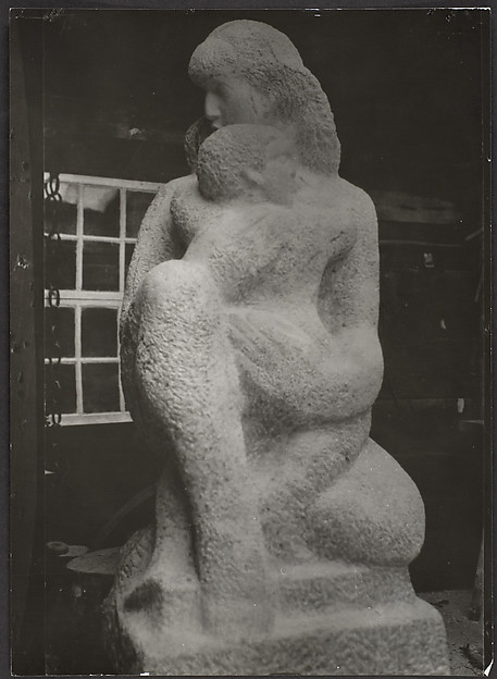 """Mother and Child"", Early Stage of Roughing Out with Pointed Chisel"