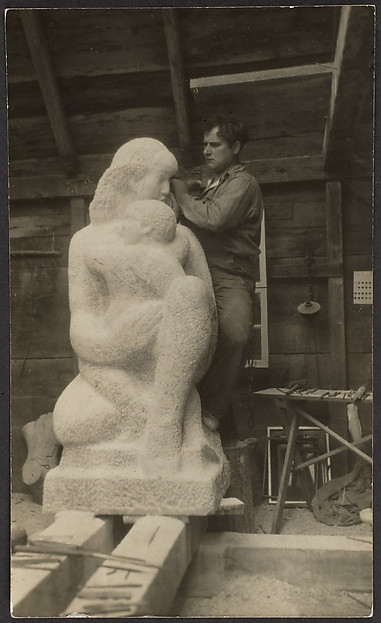 "Rough State, ""Mother and Child,"" Spanish Florida Rosa Marble, William Zorach, Sculptor"