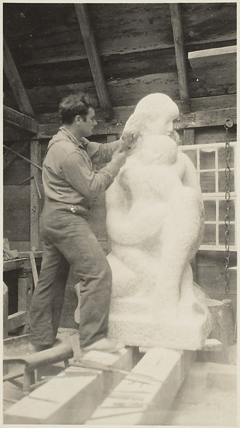 "Roughing Out the First Stage of ""Mother and Child"", Marble, In Zorach's Studio, Robinhood, Maine"